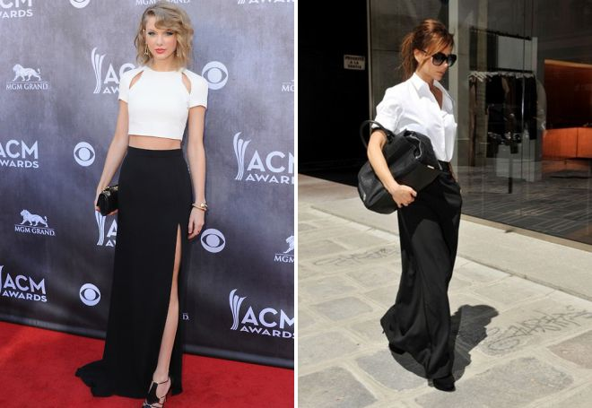 Taylor Swift e Victoria Beckham in una gonna nera